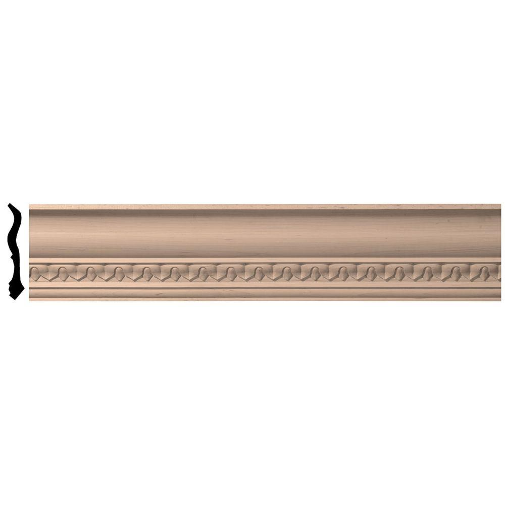 4-3/4 in. x 96 in. x 4-7/8 in. Unfinished Wood Maple Lanarkshire Carved Crown Moulding