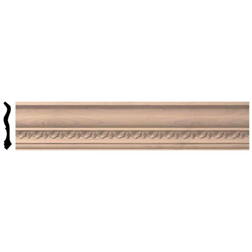 3-1/2 in. x 96 in. x 3-5/8 in. Unfinished Wood Maple Lanarkshire Carved Crown Moulding