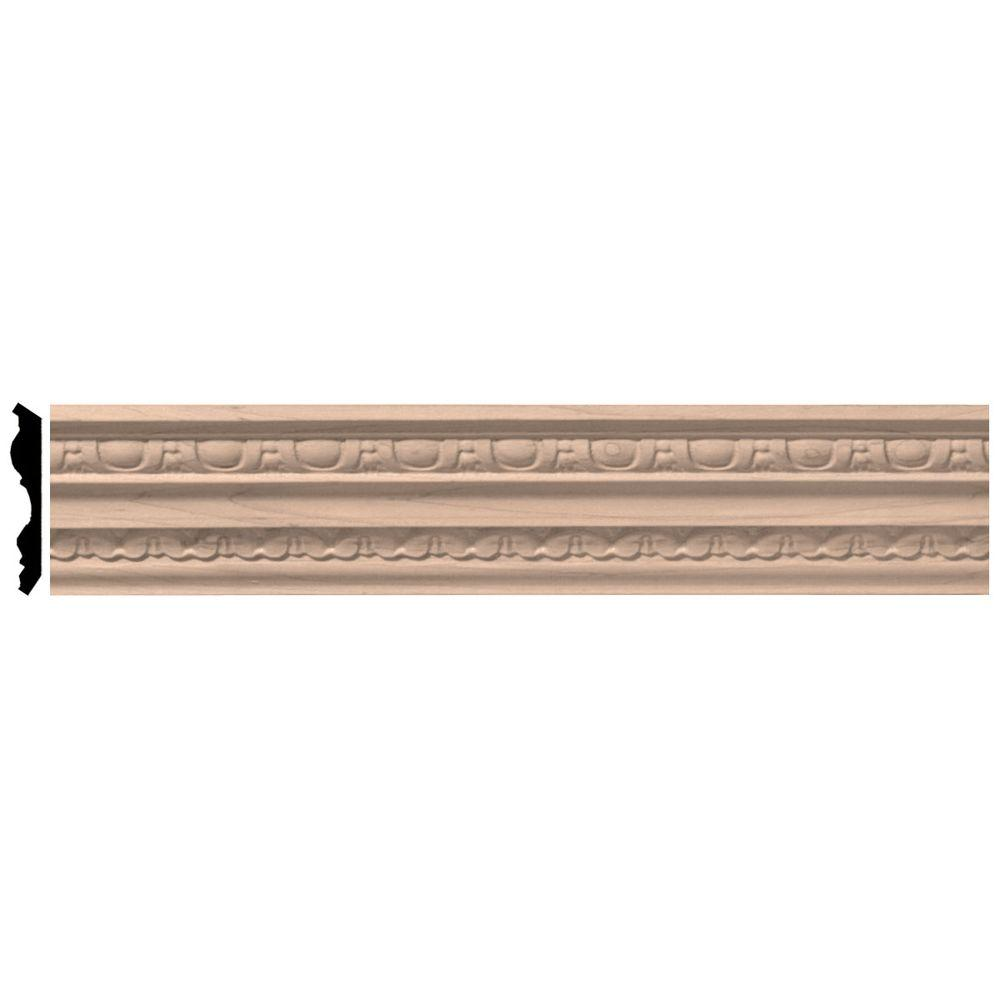 2-1/4 in. x 96 in. x 3 in. Unfinished Wood Maple Bedford Carved Crown Moulding