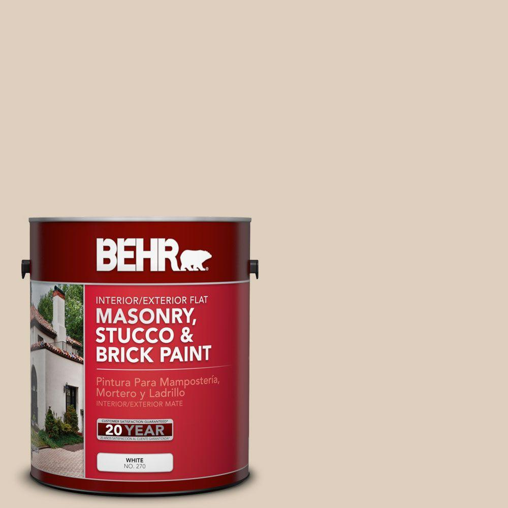 1-gal. #MS-21 Spanish Tan Flat Interior/Exterior Masonry, Stucco and Brick Paint